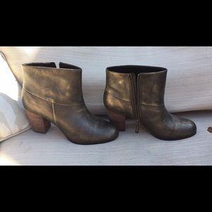 Cole Haan Women's Metallic Gold Booties Boots
